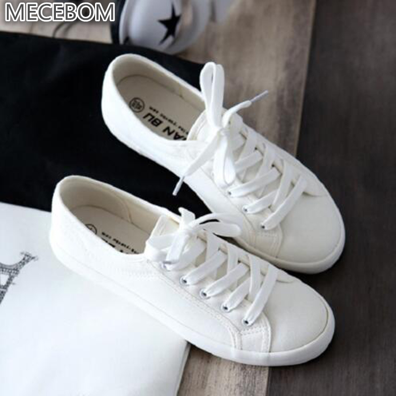 2018 Fashion Women White Canvas Shoes sneakers Low Top Casual Flat Student Shoes Lace Up Solid Canvas Women Shoes footwear C030W lin king women casual shoes leisure lace up wedge shoes fashion low top massage ankle shoes solid massage outdoor single shoes