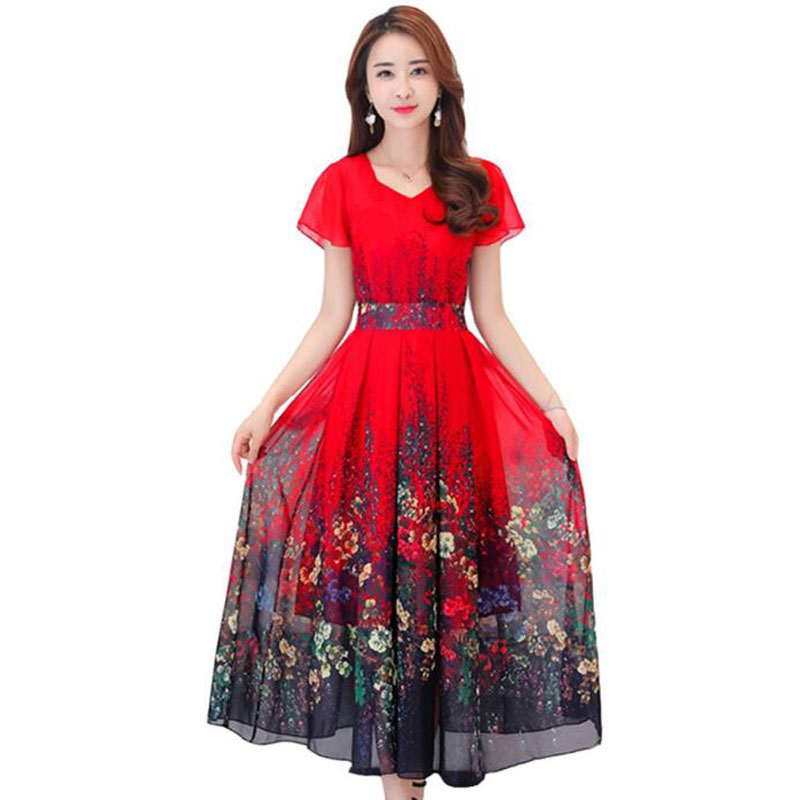 2018 nouvelle grande taille 4XL bohème robe d'été femmes imprimé longue robe à manches courtes bord de mer vacances ver à soie robe en soie
