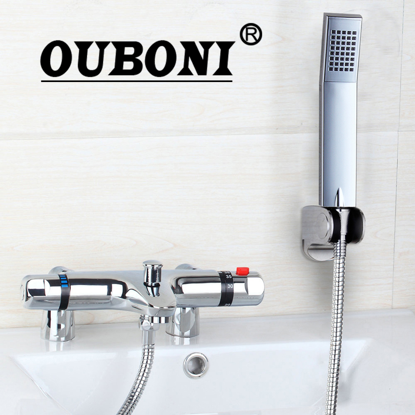 Deck Mounted Chrome Plated Brass Thermostatic Mixing Valve: Aliexpress.com : Buy OUBONI New Wall Mounted Thermostatic