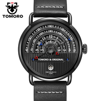 TOMORO Original 2017 Fresh New Men Creative Black Calf-skin leather Japan Movt. Date Calendar Waterproof Casual Quartz Watch