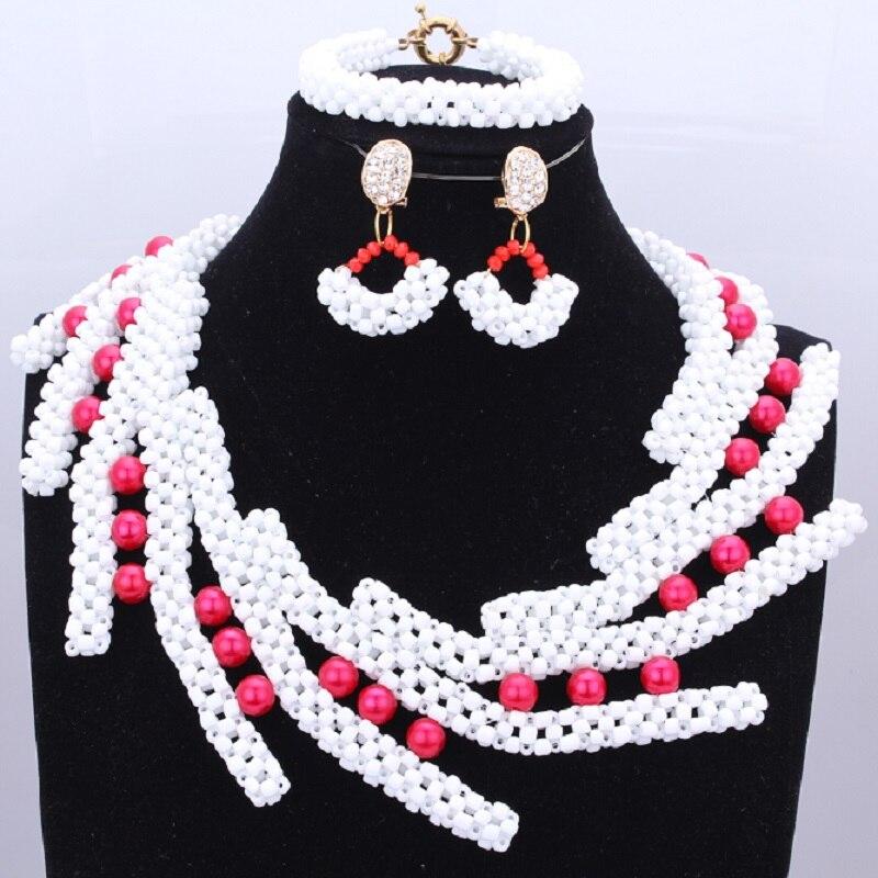 Ensemble de bijoux de mariée africaine femmes bijoux en perles blanches avec perles rose vif ensemble de bijoux de perles nigérianes de mode 2018
