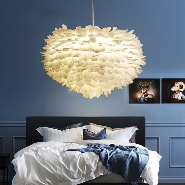 Nordic Modern Designer LED Pendant Ceiling Hanging Feather Light Lamps for Loft Kitchen Loft Dining Room Living room Bar