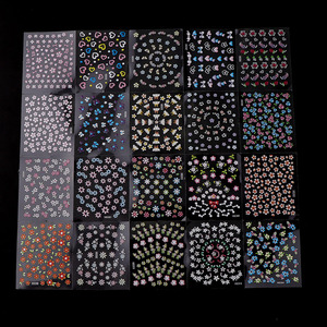 30 Sheets Random Design 3D Nail Sticker Transparent Bottom Colorful Flower Butterfly Series Nail Sticker Decoration