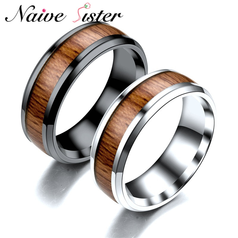 Romantic Bands: Romantic Black Engagement Ring 316L Stainless Steel Wood