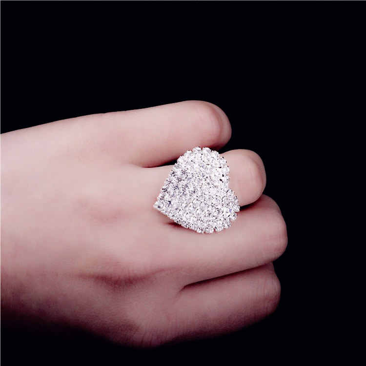 Big Heart Wedding Rings For Women white silver filled Jewelry Engagement vintage ring zirconia bijoux Accessories MSR048