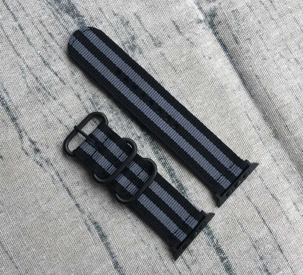 Smart Watchband 22mm 24mm NYLON Watch band For Apple Watch band 38mm 42mm Nato Strap with Black Zulu Rings, Buckle and Adapters