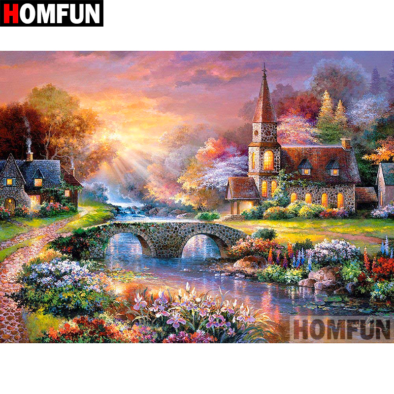 HOMFUN 5D DIY Diamond Painting Full Square Round Drill quot House scenery quot 3D Embroidery Cross Stitch gift Home Decor Gift A08207 in Diamond Painting Cross Stitch from Home amp Garden