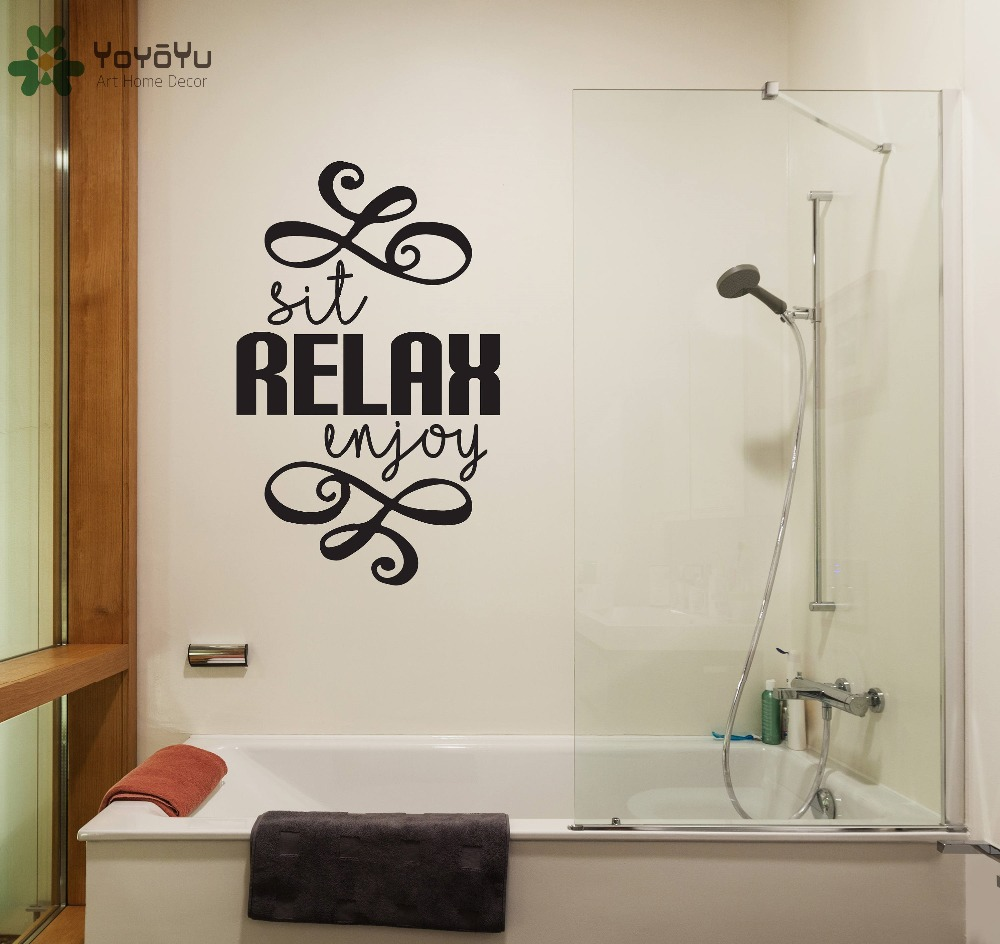 Bathroom Wall Decal Quotes Sit Relax Enjoy Removable Wall Stickers Home Art Mural Spa Master ...