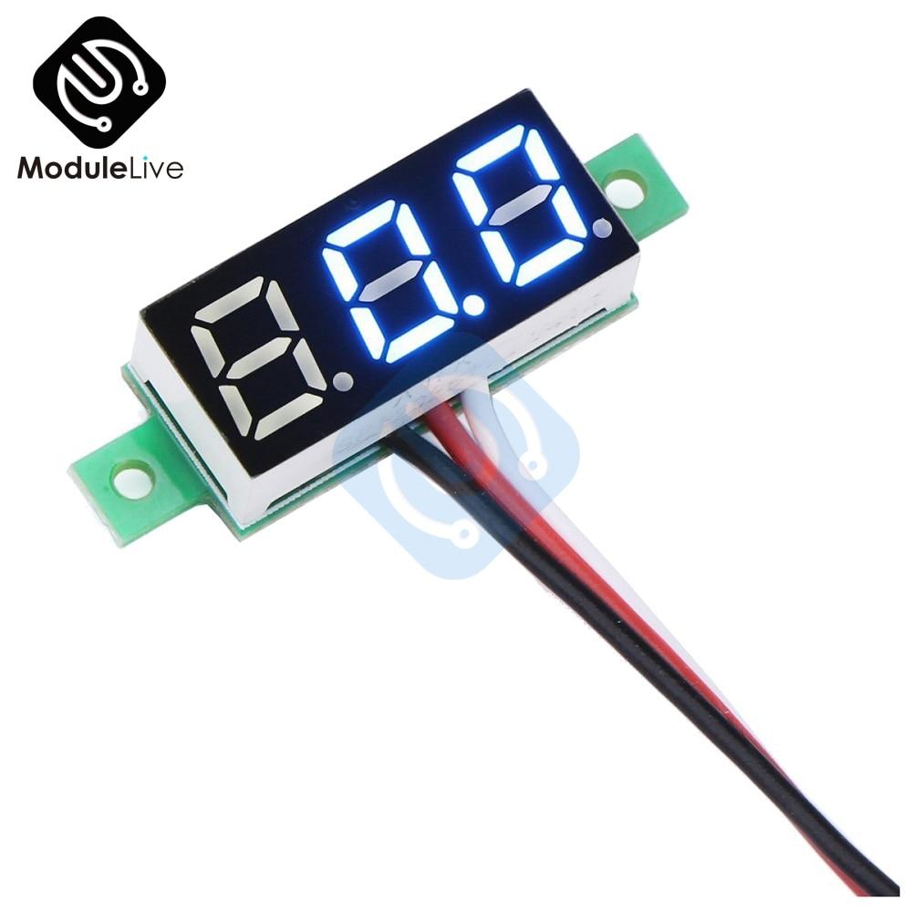 "Red 0.28/"" 2 Wire Mini Digital Panel Voltmeter Panel Mount LED DC Voltage"