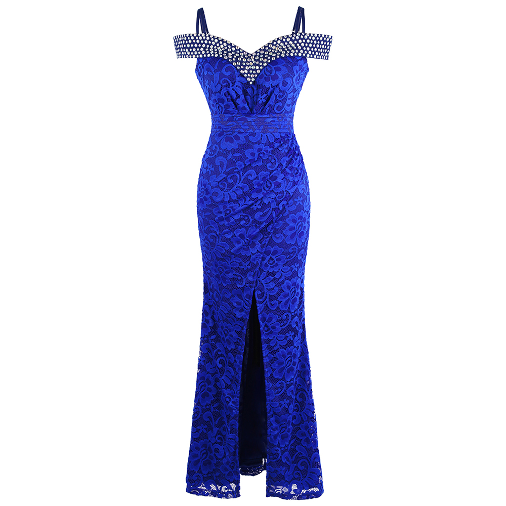 Angel-fashions Women's Beading Boat Neck Lace Pleated Party Gown Slit Long Formal Mermaid Evening Dresses 439