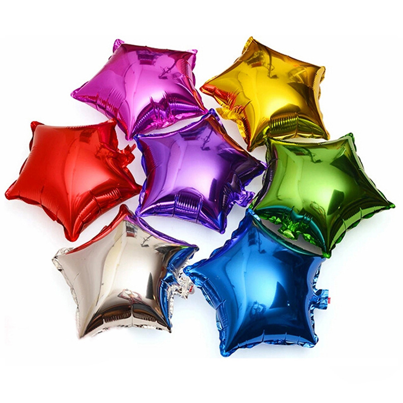 Hot sell 10pcs 10 inch Five-pointed star Aluminum foil balloon wedding birthday party wedding Market hotel supplies air balloons ...