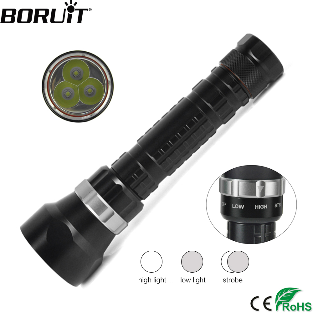 BORUiT 3000LM 3 XM-L2 LED Scuba Diving Flashlight Underwater 100M Torch 3-Mode Diver Portable Lantern by 18650/26650 Battery 100m underwater diving flashlight led scuba flashlights light torch diver xm l2 use 18650 or 26650 rechargeable batteries