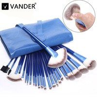 Vander Professional 24PCS Makeup Brushes Set Cosmetics Powder Eyeshadow Eyeliner Blusher Soft Styling Kit Bag Pincel
