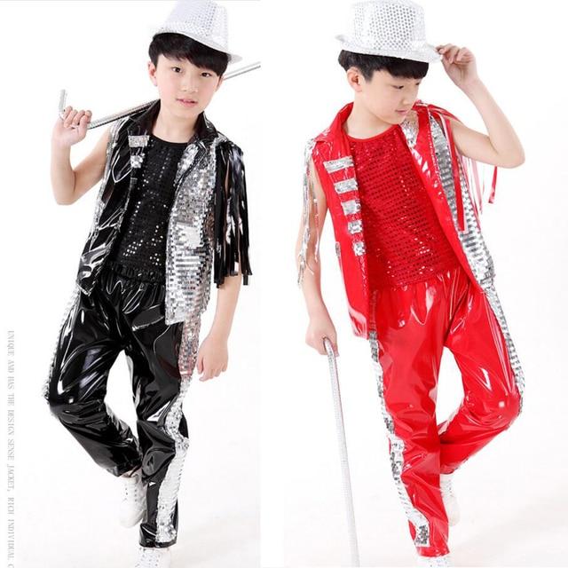 73fc4b741cbc Black Red Bright Kids Jazz Dance Costumes tops+Pants Boys Modern Hip ...