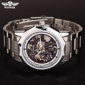 Image 4 - WINNER brand watches men mechanical skeleton wrist watches fashion casual automatic wind watch gold steel band relogio masculino
