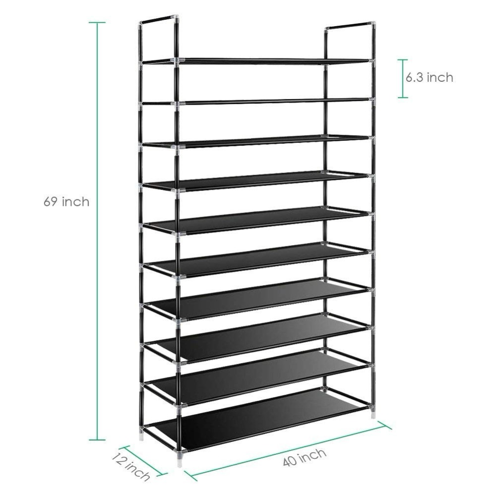 Image 2 - Large Capacity 10 Layers Shoe Rack Easy to Install Home 50 Pairs Shoe Organizer Space Saving Stand Holder Furniture for Door-in Shoe Cabinets from Furniture