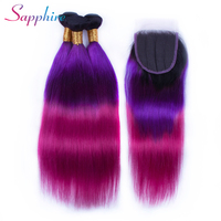 Sapphire 3 Bundles TB/Purple/Red Brazilian Straight Hair Bundles Ombre Hair Weave Black Root with Free Part Closure Remy Hair