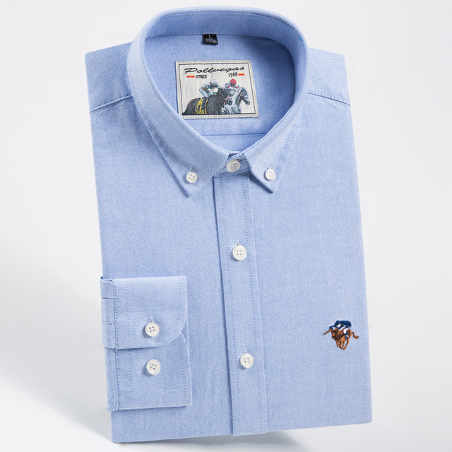 Men's Solid Oxford Button-collar Dress Shirt Embroidered Logo 100% Cotton  Easy Care Long