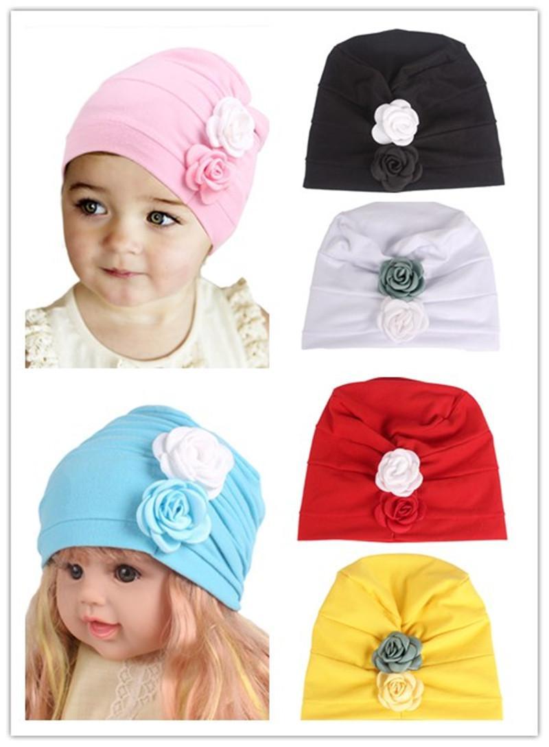 2018 Kids Girls Children Cotton Head Caps Flowers Baby Hat Bonnet Fashion Hair Band New