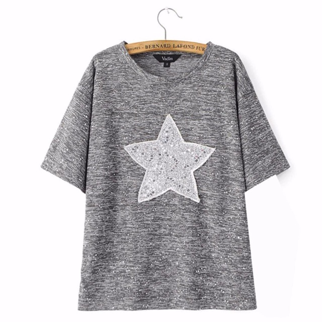 a8247d387c6 Women star sequined short sleeve T shirt summer studded loose O neck tees  camisas femininas casual