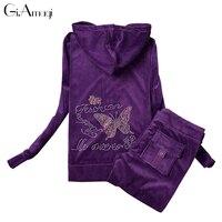 Hot Drilling Velvet 2 Piece Set Track Suit Women Korean Sportswear Autumn Leisure Sports Suit