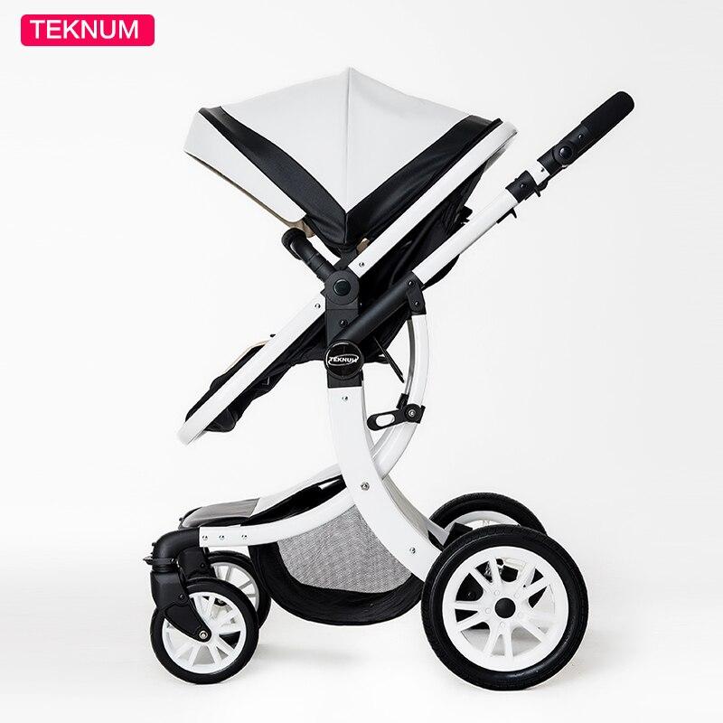 Teknum 2 Dans 1 Haute Paysage X Conception Bébé Poussette Pour nouveau-né bébé landau Six cadeau gratuit HK livraison gratuite 0 -3 ans En Cuir bébé