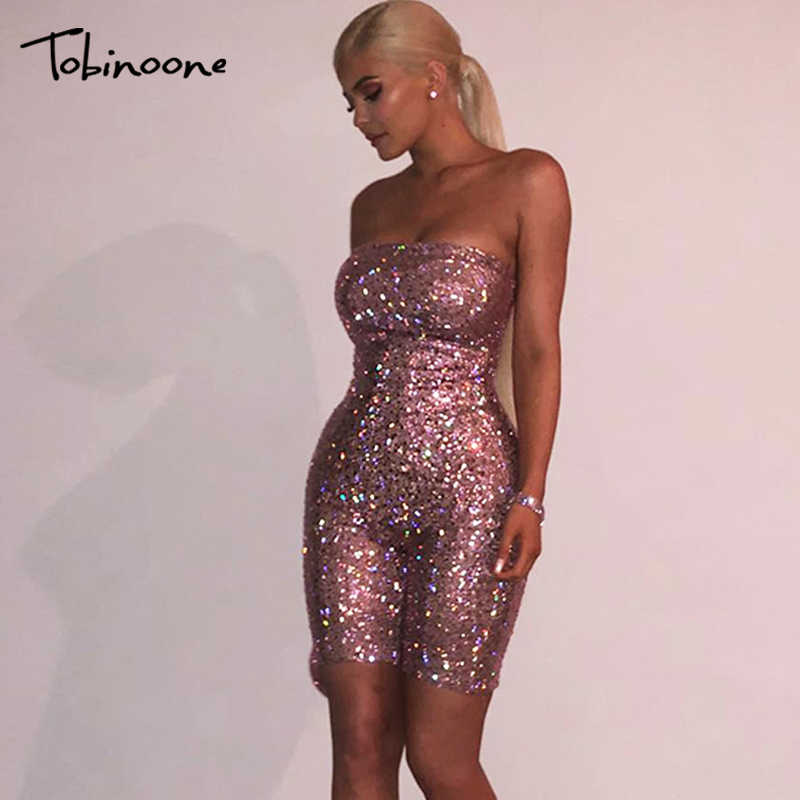ed9201d727b Tobinoone Birthday Sequin Romper Strapless Kylie Jenner s 21st Birthday  Party Sexy Jumpsuit Clubwear Party Outfits for
