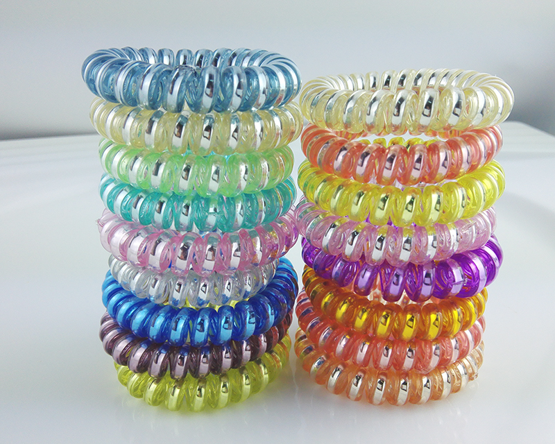 Color shiny summer color Printed Women Lady Girl Elastic Rubber Hair Ties  Band Rope Holder Bracelets Hair Accessories f9b66150a2f