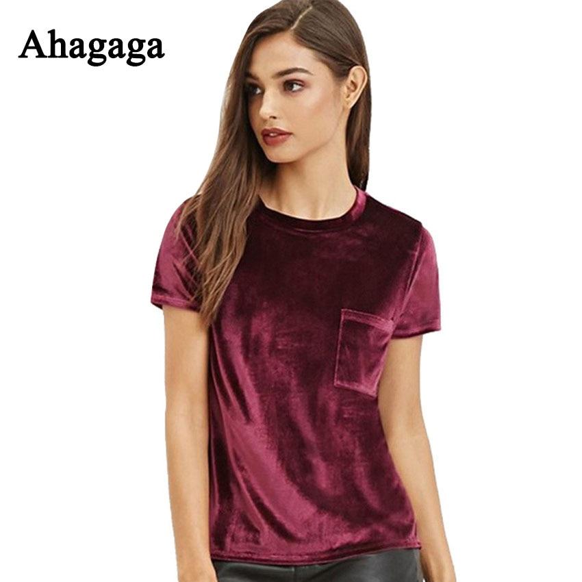 Ahagaga Tops Women 2017 Autumn Fashion Velvet T shirts Solid Claret Short Sleeve Basic Tees Casual
