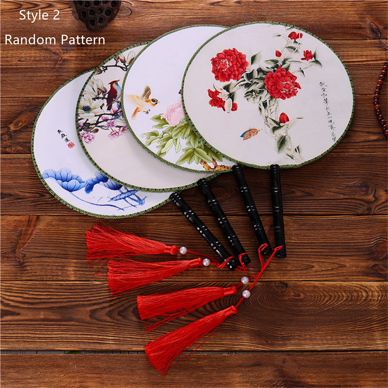 28 Styles Female Classical Dancing Round Chinese Style Handheld Both Side Flower Printed Silk Circular Fan With Tassel Pendant