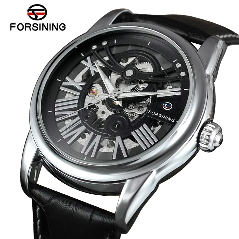 Automatic Mechanical Watches Men Skeleton Mechanicals Watch Black Leather Mens Wristwatches Self-winding Clock