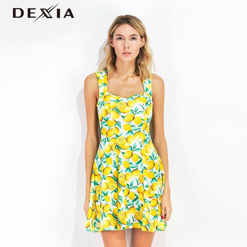 Dexia Summer Dress Women Fruit Lemon Printed Sleeveless Sexy Vestidos Dresses Mini Sundress Deep Vestido Female Dresses SKQ1341