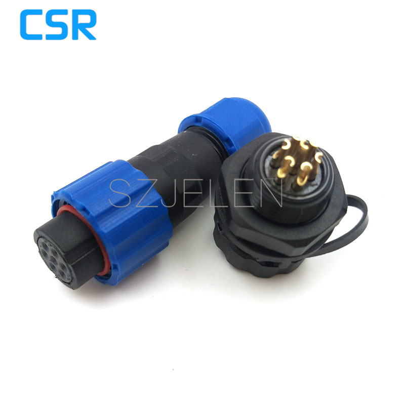 SD13, Outdoor waterproof camera power cable 7-pin panel mount connector, LED power supply cord connector 7-pin. IP68 sd13 4 pin cable connectors waterproof 250v sockets led cabinet power connector 4pin waterproof panel mount connector ip68