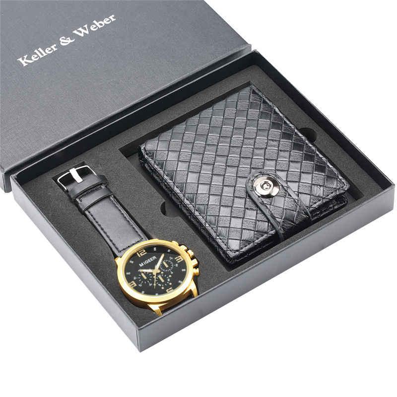 Keller & Weber ของขวัญนาฬิกาควอตซ์กระเป๋าสตางค์ชุดนาฬิกาสำหรับชายแฟชั่น Rhomb รูปหนังธุรกิจของขวัญ Reloj hombre