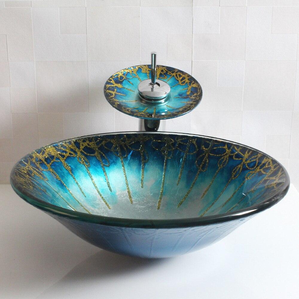 Bathroom tempered glass vanity basin above counter Basin round round art basin wash basin LO627542