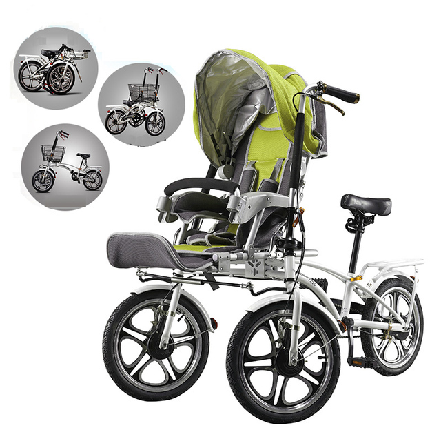 Mama baby bike stroller, mother and child cart, double