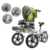 Mama baby bike stroller, mother and child cart, double bike for entire family, three wheels baby stroller child tricycle