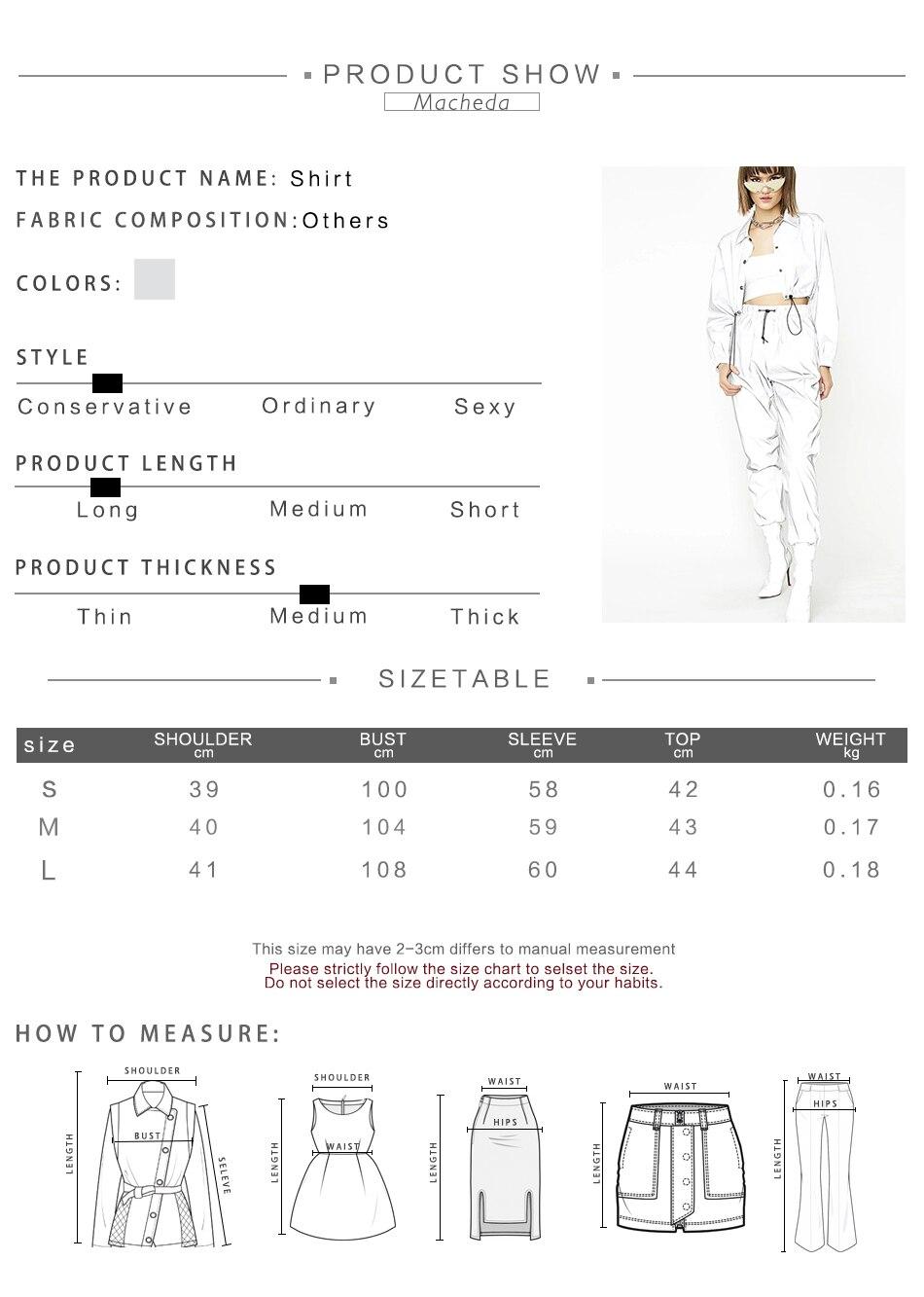 Macheda Fashion Women Reflective Turn-down Collar Buckle Drawstring Jackets Long Sleeve Cropped Coat Ladies Basic Jacket Ne'w
