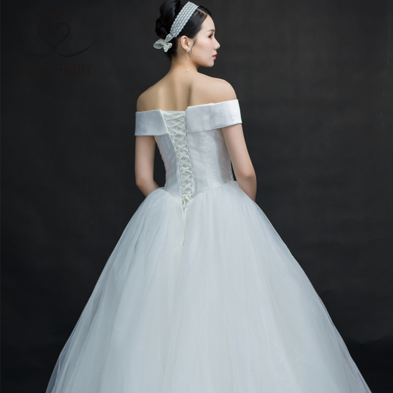 Wedding Dresses Swanskirt 2019 Customized Plus Size One-shoulder Bride Is Thin And The Bride Is A Small Wedding Dress Satin Simple B102 Quality And Quantity Assured