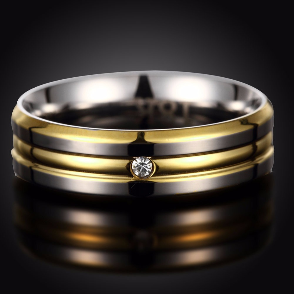Yellow Gold Color Rings Men Wedding Band For Women Stainless Steel Couple Pair Rings With Zirconia Crystal Ring Hot Sale