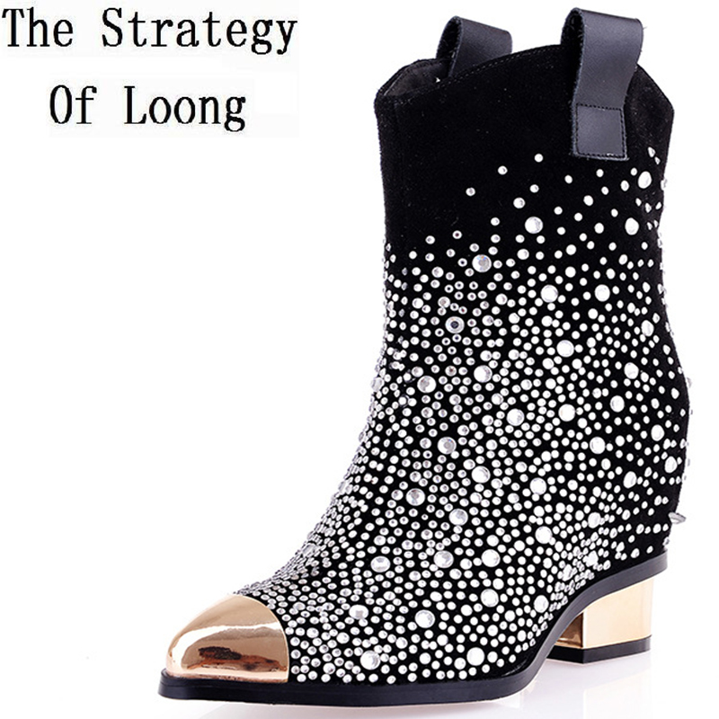 Winter Women Thick Mid Heel Pointed Toe Genuine Leather Height Increase Elevator Crystal Ankle Boots Plus Size EU40 EU41 new arrival superstar genuine leather chelsea boots women round toe solid thick heel runway model nude zipper mid calf boots l63