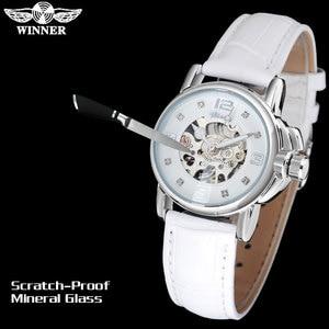 Image 3 - WINNER brand women watches skeleton mechanical watch white leather band ladies simple fashion casual clock relogio femininos