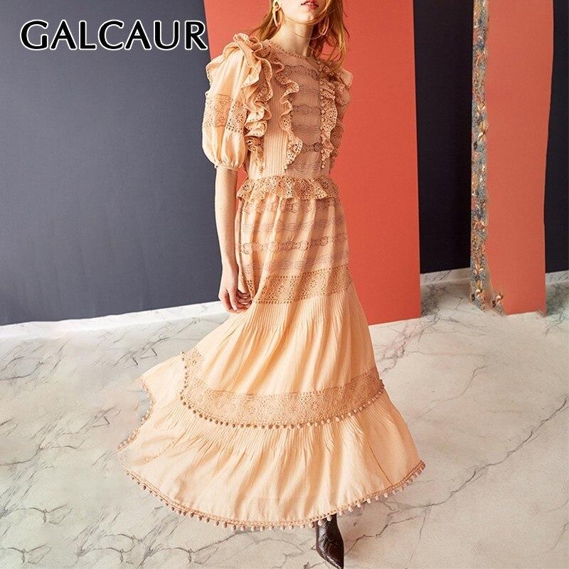 Galcaur 여름 머리 공 레이스 패치 워크 드레스 여성을위한 목 절반 슬리브 높은 허리 미디 드레스 여성 패션 2019 우아한-에서드레스부터 여성 의류 의  그룹 1