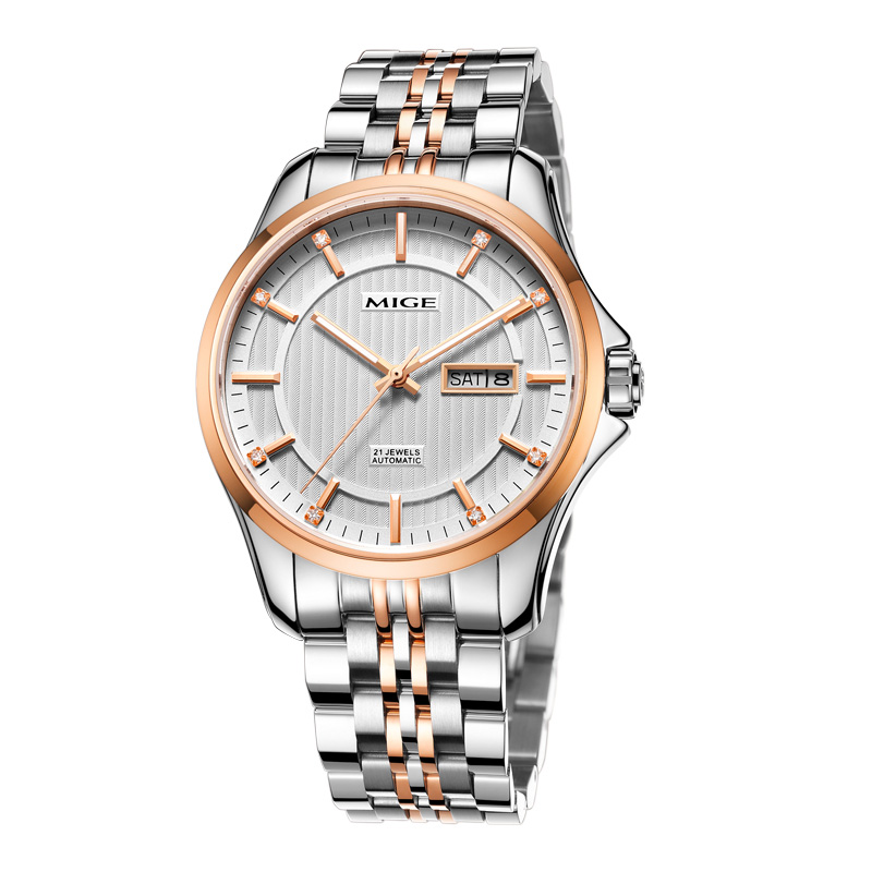 2017 Real Time limited Sale Saphire Dial Automatic watches Skeleton White gold rose Mechanical Watch Waterproof Mans Wristwatch