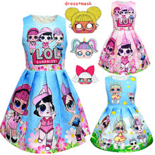 hot deal buy 3-10y lol dolls baby dresses  summer cute cartoon dresses kids party christmas costumes children princess lol girls clothes