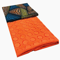 Newest African Lace Fabrics Milk Silk Cord Lace 3yards+2.5yards African Ankara Fabric Wax Print Fabric Printing 100% Cotton