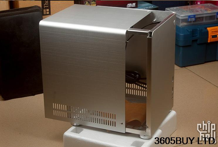 New PC-Q01 black silver aluminum ITX mini case realan aluminum mini itx desktop pc case e i7 with power supply cd rom slots black silver