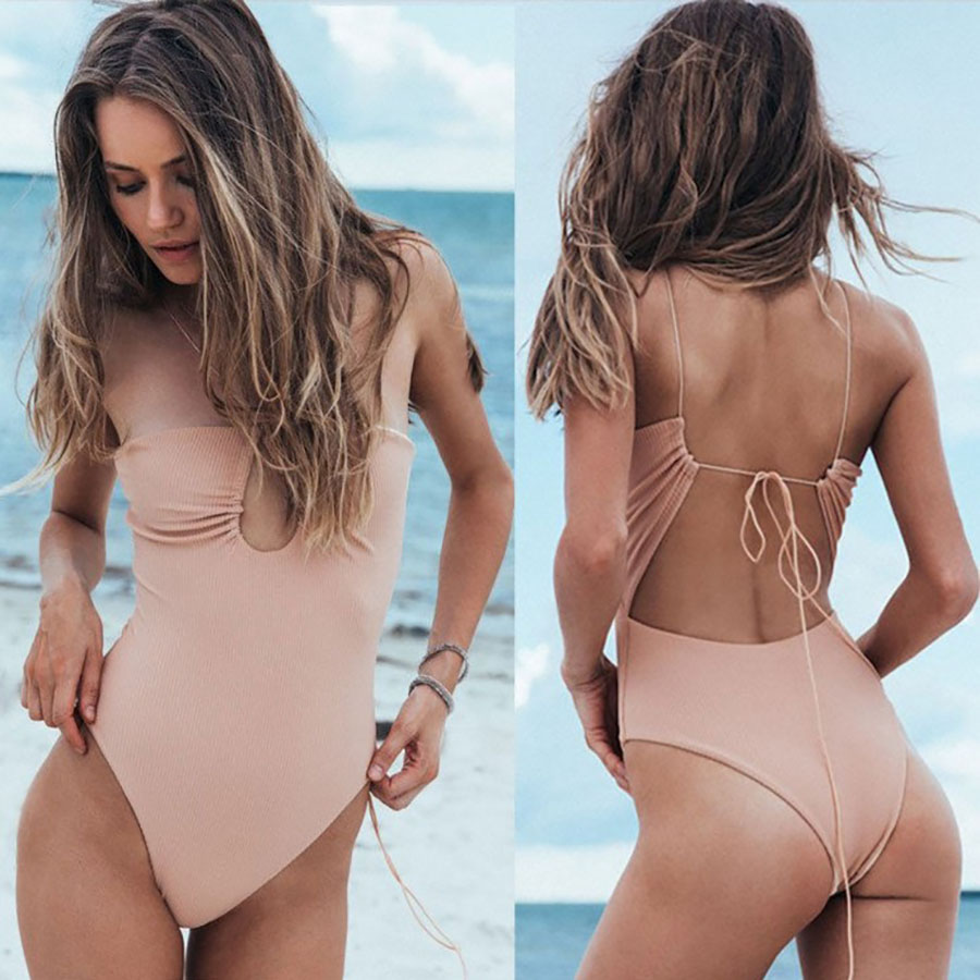 2018 Backless Bandage One Piece Swimsuit Sexy Hollow Out Bathing Suits Plus Size Swimwear Women Bodysuits Monokini High Cut XL fashionable strappy printed cut out one piece swimsuit for women