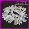 Polished Clear Quartz Point Pendants Rock Crystal Quartz Top Drilled Briolettes Stick Beads Natural Druzy Quartz Spike Beads
