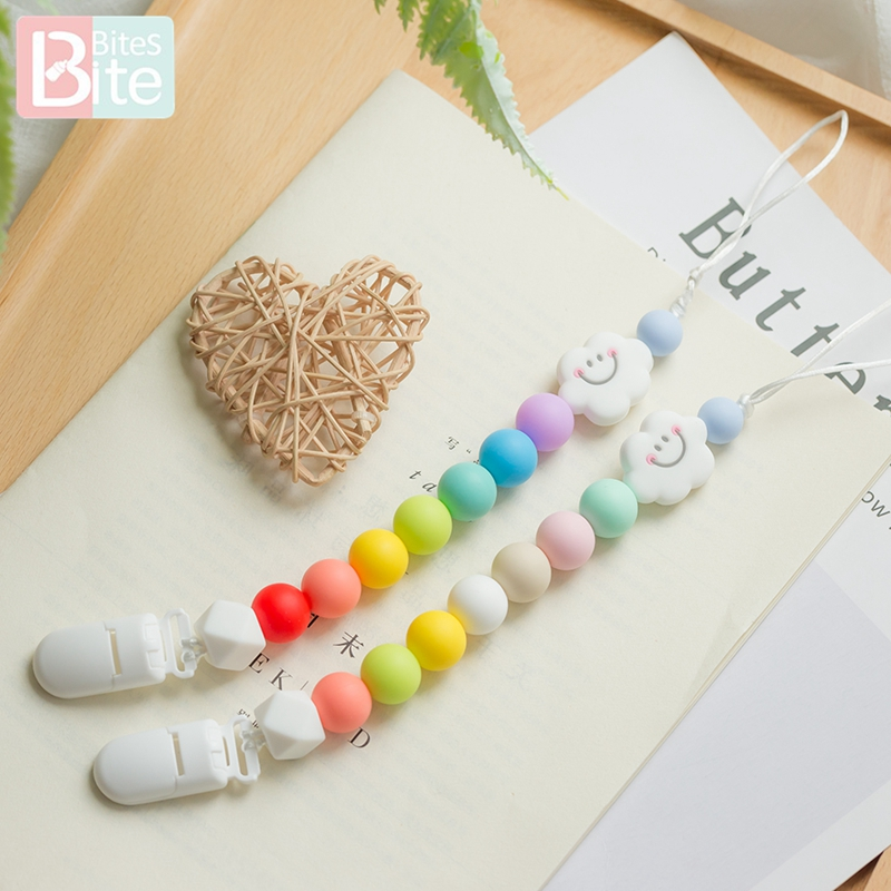 Bite Bites 1pc Baby Silicone Pacifier Chains Rainbow Cartoon Teething Chain Baby Teether Soother Chew Dummy Clips Nipple Holder